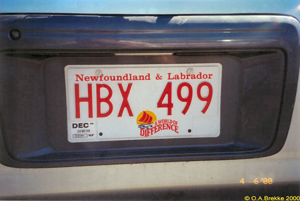 Canada Newfoundland and Labrador normal series former style HBX 499.jpg (44 kB)
