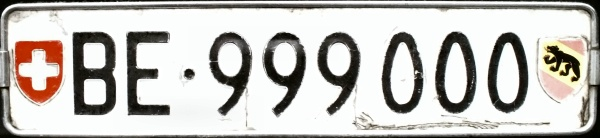 Switzerland select registration rear plate close-up BE·999000.jpg (43 kB)
