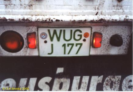 Germany road tax free series former style WUG-J 177 (21 kB)