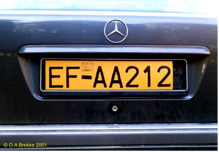 Swedish replacement plate for a German registration EF-AA 212.jpg (25 kB)