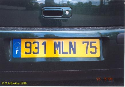 France former normal series rear plate 931 MLN 75.jpg (20 kB)
