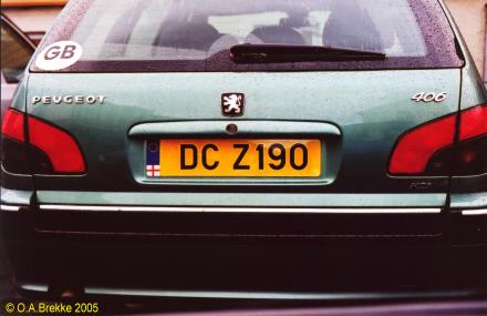 Northern Ireland normal series rear plate illegally spaced DCZ 190.jpg (21 kB)