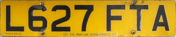 Great Britain former normal series rear plate close-up L627 FTA.jpg (37 kB)