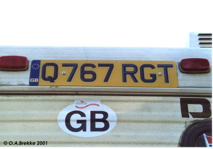 Great Britain former series vehicle of undefined age rear plate Q767 RGT.jpg (19 kB)