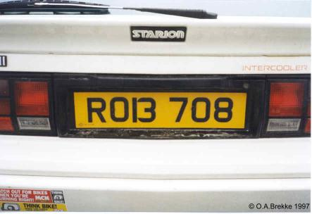 Northern Ireland normal series rear plate illegally spaced ROI 3708.jpg (20 kB)
