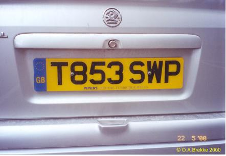 Great Britain former normal series rear plate T853 SWP.jpg (19 kB)