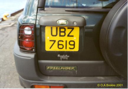Northern Ireland normal series rear plate UBZ 7619.jpg (19 kB)