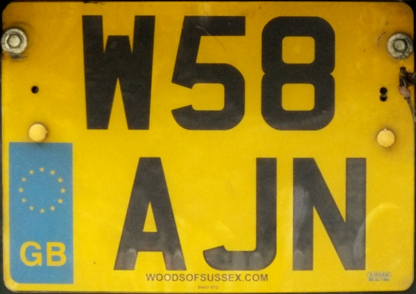 Great Britain former normal series rear plate close-up W58 AJN.jpg (96 kB)