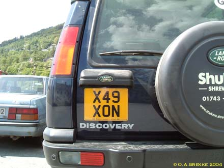 Great Britain former normal series rear plate X49 XON.jpg (25 kB)