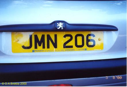 Isle of Man former normal series rear plate reissued JMN 206.jpg (19 kB)