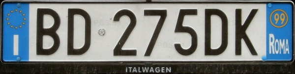 Italy normal series rear plate close-up BD 275 DK.jpg (44 kB)