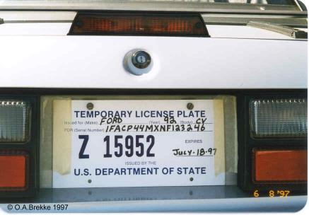 USA temporary license plate - U.S. Department of State Z 15952.jpg (23 kB)